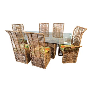 Rattan Jute Rope Wrapped 7-Piece Dining Set For Sale