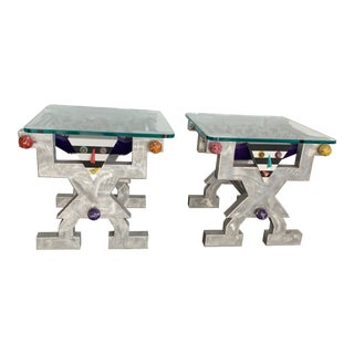 1990s Memphis Judith Stauffer Rick Hubbard Design PoMo End Tables - a Pair For Sale