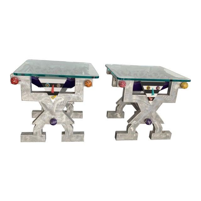 1990s Memphis Judith Stauffer Rick Hubbard Design PoMo End Tables - a Pair For Sale