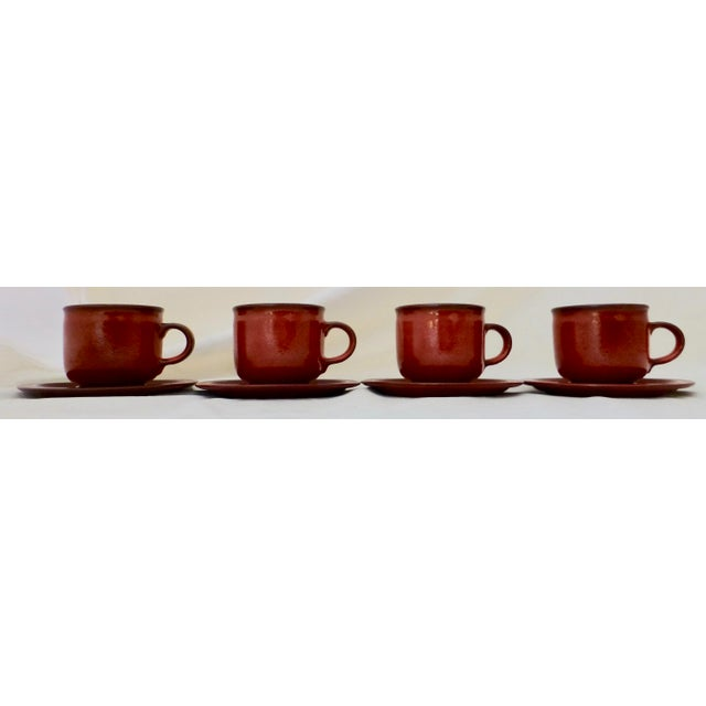 West German Ceramano Coffee Cup and Saucers in Sunset Orange - Set of 4 For Sale - Image 13 of 13