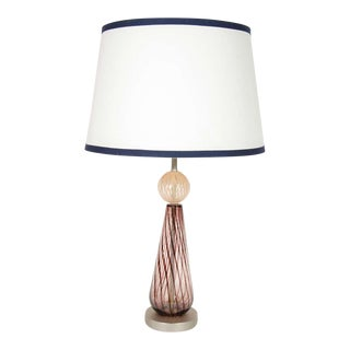 Mid Century Modern Murano Glass Lamp With Spiral Color Details For Sale