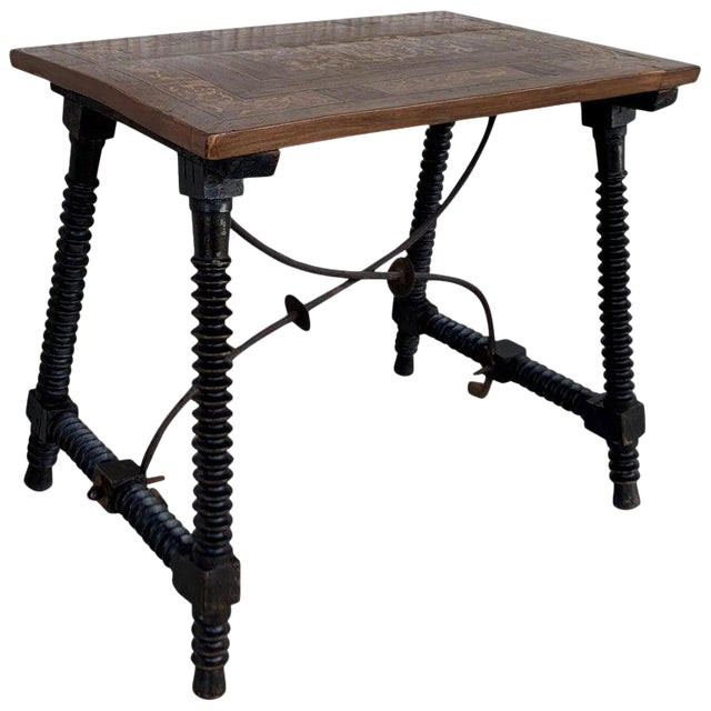 19th Century Baroque Spanish Side Table With Marquetry Top & Turned Legs For Sale