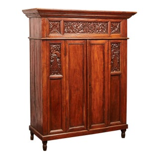 Rare 20th Century Indonesian Carved Teak Cabinet For Sale