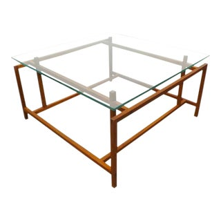 Mid Century Danish Modern Hemming Norgaard for Komfort Teak and Glass Coffee Table For Sale