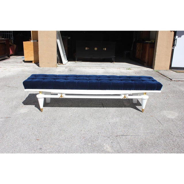Blue 1940s Vintage French Art Deco Long Sitting Bench For Sale - Image 8 of 12