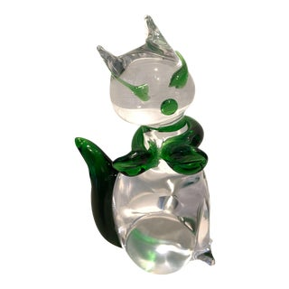 1980's Vintage Icet Murano Art Glass Kitty Cat Paperweight Figurine For Sale