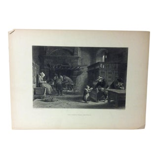 "Antique Print on Paper, ""The Homely Meal Brittany"" by J. Godfrey, Circa 1880 For Sale"