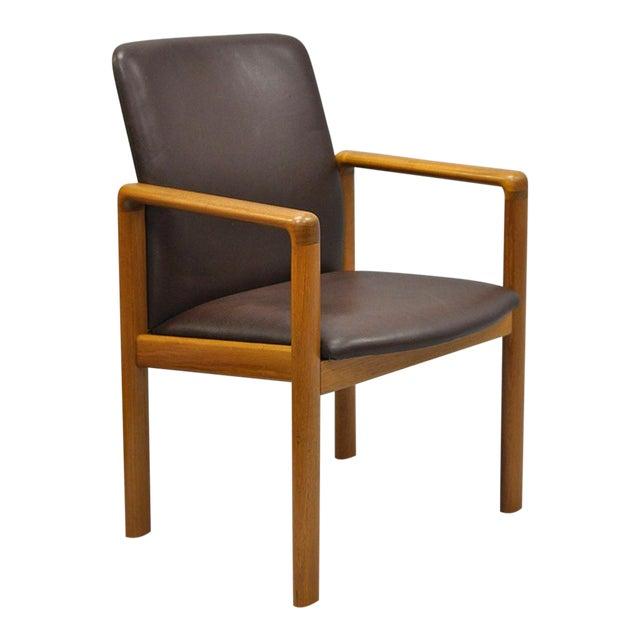 Sva Mobler Mid Century Danish Modern Teak Brown Leather Desk Dining ...