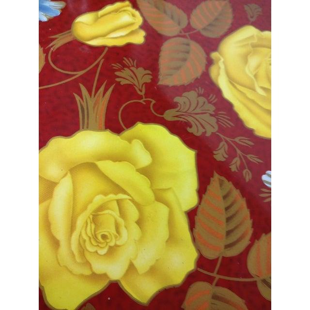 Vintage Red Metal Floral Tray - Image 3 of 9