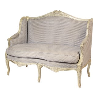 1980s Louis XV Style Silver Leaf and Painted Settee For Sale