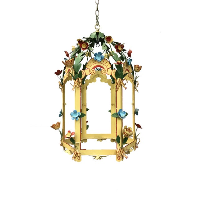 1980s Palace Floral Design Pendant Light For Sale - Image 5 of 5