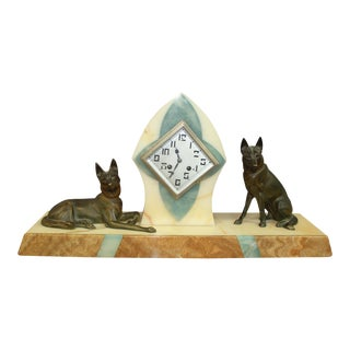 Beautiful French Art Deco Clock Two Bronze Dog Sculpture, circa 1940s For Sale