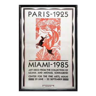 1985 Robert Bonfils Miami Paris Art Deco Style Poster, Framed For Sale