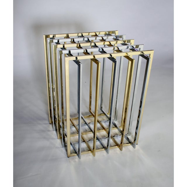 Pierre Cardin Mixed Chrome and Brass Grid Table For Sale In Chicago - Image 6 of 10