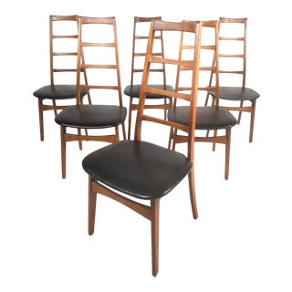 Set of Six Midcentury Modern Ladder Back Dining Chairs by Niels Koefoed For Sale