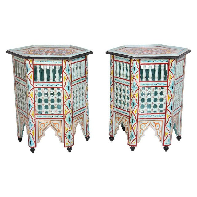 Moroccan Hand Painted Ivory Tables - a Pair For Sale - Image 13 of 13
