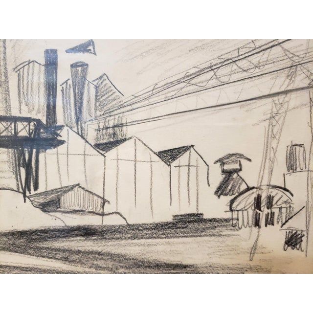 Mid-Century Modern Mid Century Industrial Factory Charcoal Drawing by Tonia Cariffa For Sale - Image 3 of 7
