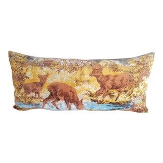 Vintage Nature Scene Velvet Pillow For Sale