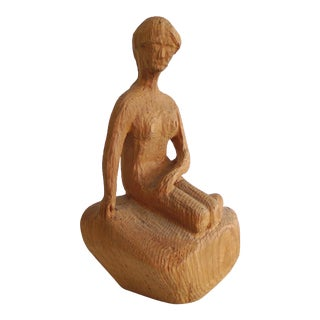1950s Hand Carved Female Figure For Sale