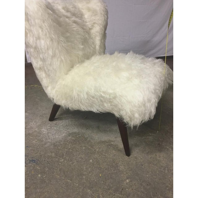 Danish Awesome Pair of Hairy Slipper Chairs Newly Covered in Mohair Faux Fur For Sale - Image 4 of 6