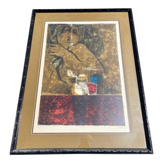 1960s Abstract Figurative Still Life Signed Serigraph by Alvar Sunol, Framed For Sale