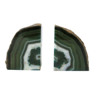 Emerald Green and White Onyx Bookends - a Pair For Sale