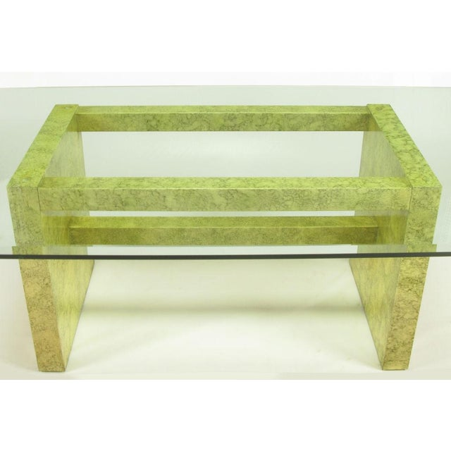 Glass Henredon Circa 75 Glass & Marbleized Base Dining Table For Sale - Image 7 of 8
