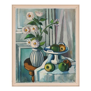 1940s Vintage Svend Aage Lindstrøm Still LIfe Painting For Sale