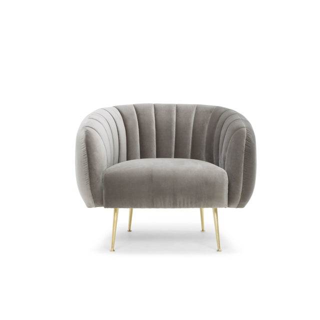 Contemporary Grey Liam Accent Chair For Sale - Image 3 of 6