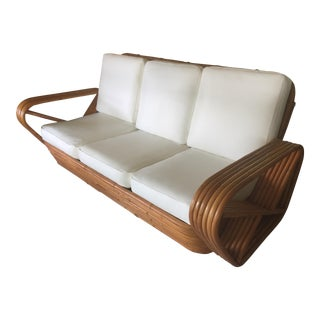 1950s Mid-Century Modern Paul Frankl 6-Strand Square Pretzel Sofa For Sale