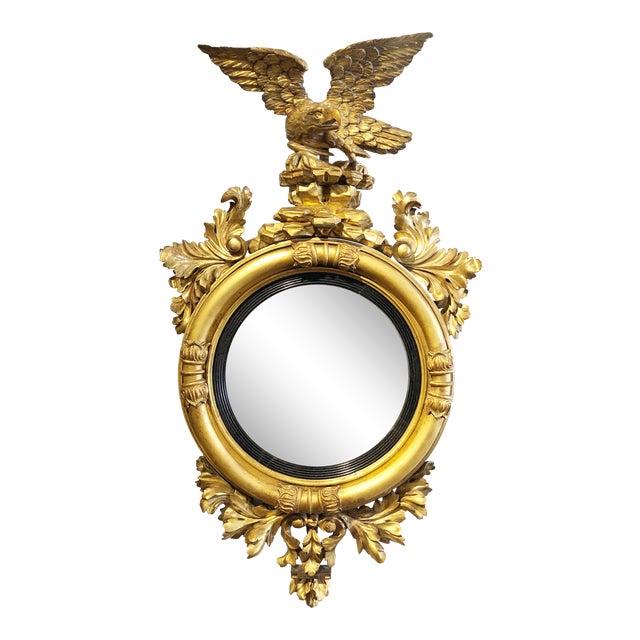 Late 18th Century Federal Era Gilt and Ebonized Convex Mirror For Sale