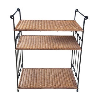 20th Century Boho Chic Iron & Rattan Tiered Dry Bar For Sale