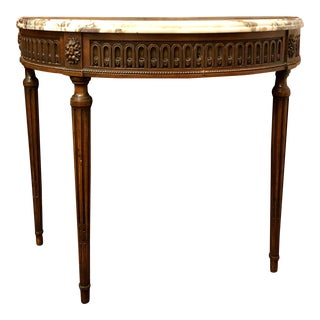 Antique French Walnut Marble Top Demi-Lune Console, Circa 1900 For Sale