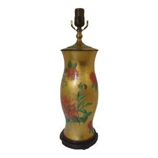 Botanical Reverse Decoupage Hurricane Glass Lamp Gold Leaf For Sale