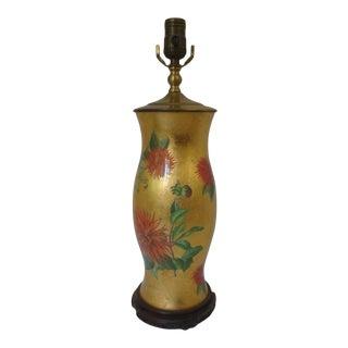 Botanical Reverse Decoupage Hurricane Glass Lamp Gold Leaf For Sale