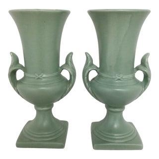 Vintage Mid Century Ceramic Urn Trophy Vases - a Pair For Sale