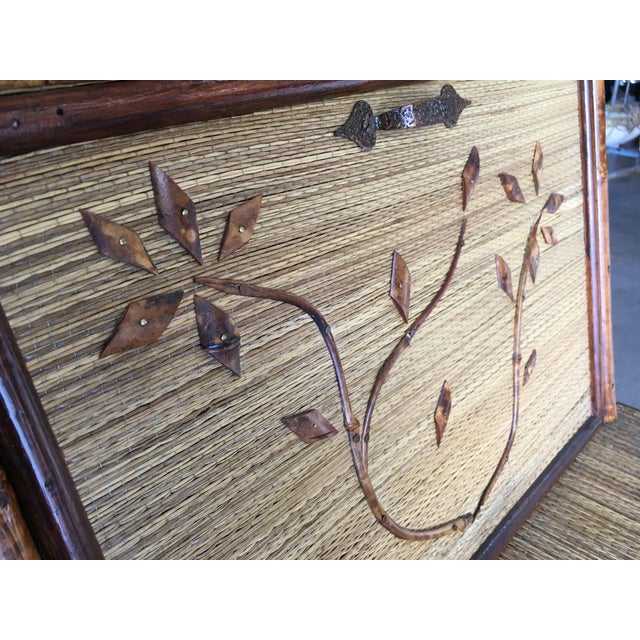 Bamboo Aesthetic Movement Restored Tiger Bamboo Secretary Desk For Sale - Image 7 of 10