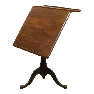 19th C. Adjustable Walnut and Cast Iron Drafting Table C.1800s For Sale
