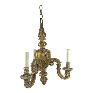 French Gilt Wood Chandelier For Sale