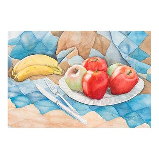 'Still Life of Fruit on a Picnic Quilt' by Avra Pirckle, 1970s For Sale