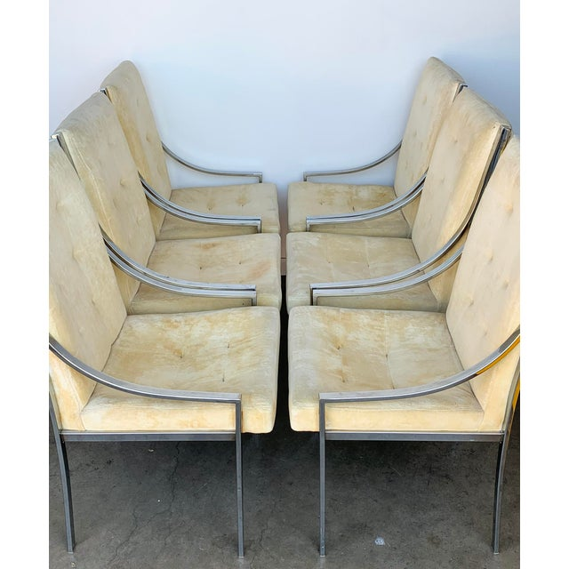 Hollywood Regency Set of 6 Chrome Dining Chairs Attributed to Milo Baughman For Sale - Image 3 of 9