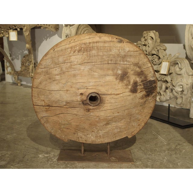 Antique Mounted Wooden Work Wheel From India For Sale - Image 10 of 10