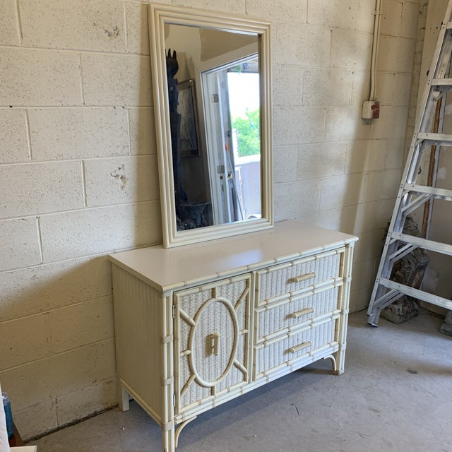 Boho Chic Henry Link Faux Bamboo and Wicker Dresser With Mirror For Sale - Image 3 of 13