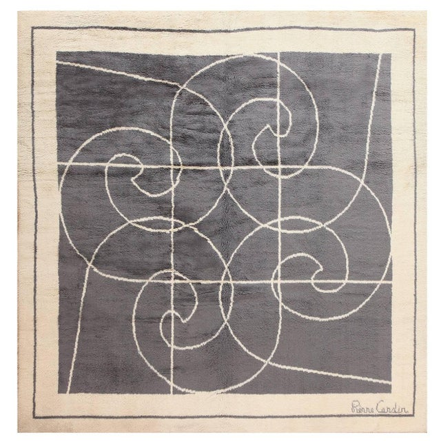 Textile Mid-Century Square Size Rug by Pierre Cardin - 8′ × 8′ For Sale - Image 7 of 7