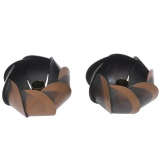 1950s Mid-Century Modern Sculptural Rebajes Blackened Copper Candlesticks - a Pair For Sale
