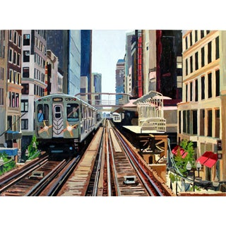 Commute Through the Loop Painting by Josh Moulton For Sale