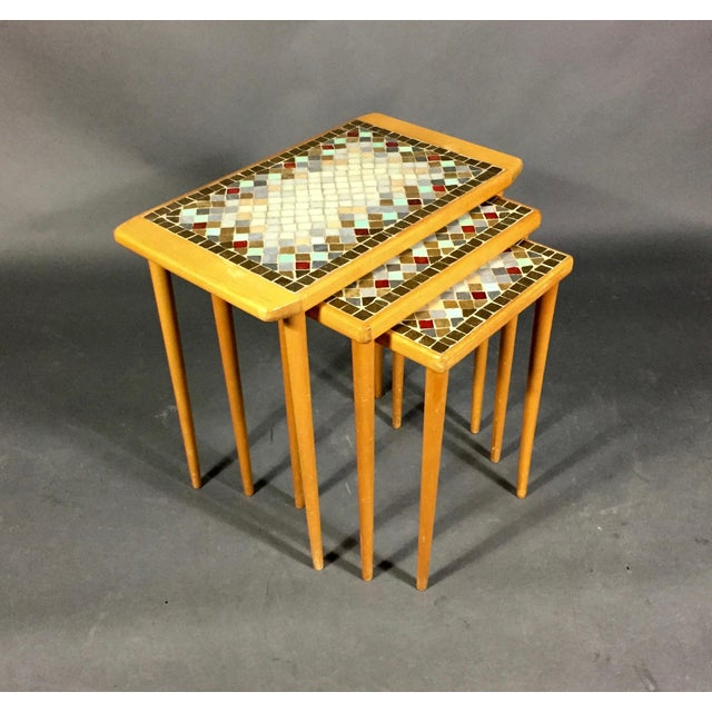 1960s Birch & Glass Mosaic Nesting Tables, Set of 3 For Sale - Image 12 of 12