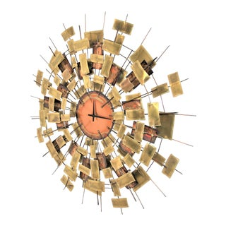 Simmons Mid-Century Modern Brutalist Jere Style Wall Clock Art Piece For Sale