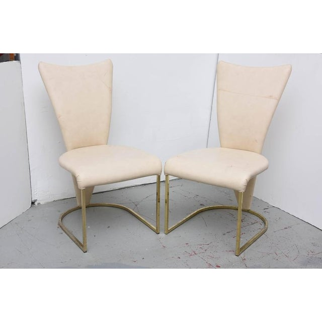 Wonderful form on these DIA Brass chairs. Chairs need polishing or replating and reupholstery, but they are structurally...