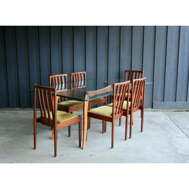 Sculptural, anthropomorphic hardwood dining table / desk. Carved base in excellent condition with built-in glass top...